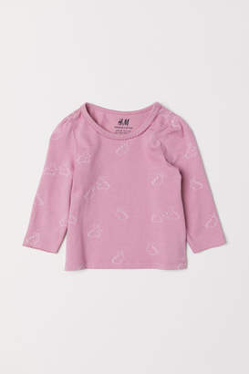 H&M Puff-sleeved Jersey Top - Pink