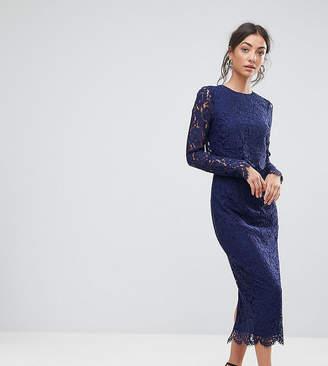 Asos Tall TALL WEDDING Lace Long Sleeve Midi Pencil Dress