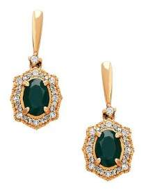 Lord & Taylor Emerald, Diamond and 14K Yellow Gold Drop Earrings