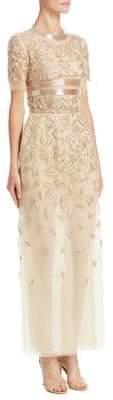 Oscar de la Renta Beaded Tulle Gown