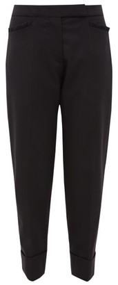 Simone Rocha Ruffle Trimmed Wool Twill Trousers - Womens - Black