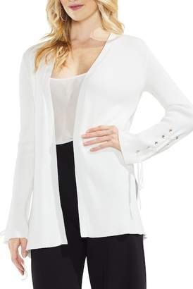 Vince Camuto Lace-Up Sleeve Ribbed Cardigan