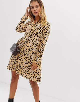 Wednesday's Girl skater shirt dress in dalmation spot