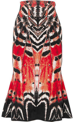 Alexander McQueen Printed Jacquard Midi Skirt - Red