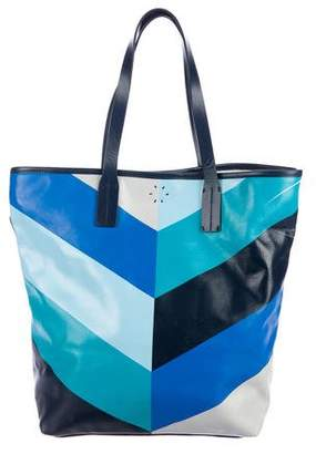 Jonathan Adler Leather-Trimmed Printed Tote