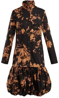 Marques Almeida Marques'almeida - Tie Dye Puff Hem Cotton Shirtdress - Womens - Black Multi
