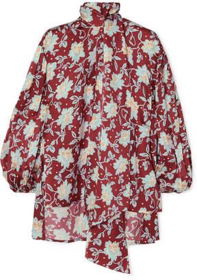 Chloé Pussy-bow Floral-print Hammered-silk Blouse - Burgundy