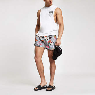 River Island Grey leopard floral print swim trunks