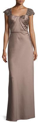 La Femme Embellished Cap-Sleeve Satin Gown $498 thestylecure.com