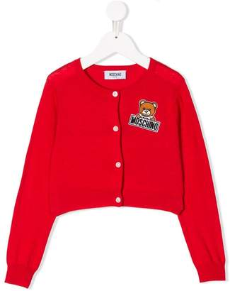 Moschino Kids logo patch cardigan