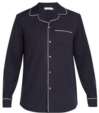 Desmond & Dempsey - Brushed Cotton Pyjama Top - Mens - Navy