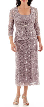 R & M Richards R&M Richards Sequin Lace Jacket Dress $120 thestylecure.com