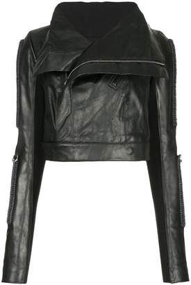 Rick Owens oversized collar biker jacket
