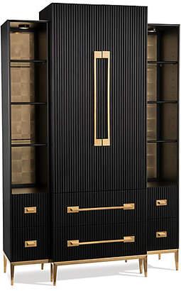 John-Richard Collection John Richard Black Satin Armoire - Noir/Brass
