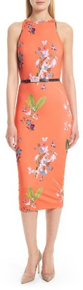 Women's Ted Baker London Joelia Tropical Oasis Body-Con Dress $195 thestylecure.com