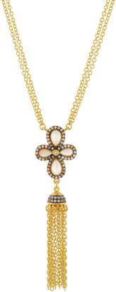 Freida Rothman Pave Clover Tassel Pendant Necklace
