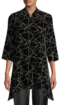 Caroline Rose Triangle Devore Velvet Side-Fall Button-Front Tunic, Petite