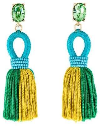 Oscar de la Renta Short Silk Tassel Earrings