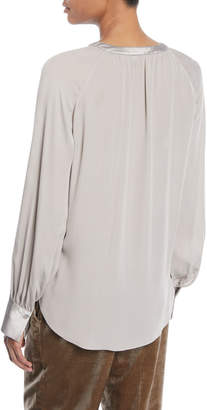 Brunello Cucinelli Turtleneck Long-Sleeve Sweater w/ Monili Trim