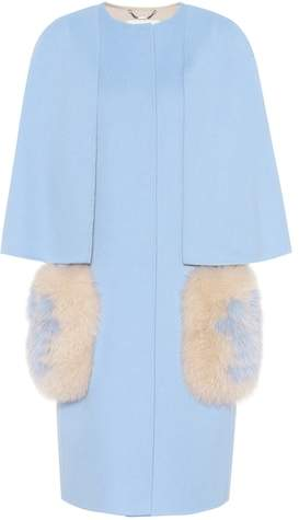 Fendi Fur-trimmed virgin wool coat