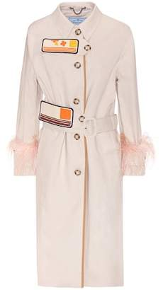Prada Cotton coat with feather trim