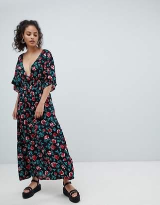 Rock & Religion Kimono Sleeve Floral Maxi Dress