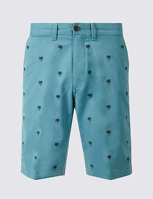 Marks and Spencer Pure Cotton Palm Embroidered Shorts