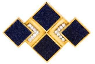 Lapis 14K & Diamond Brooch Pendant