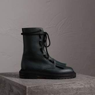 Burberry Fringe Detail Grainy Leather Military Boots