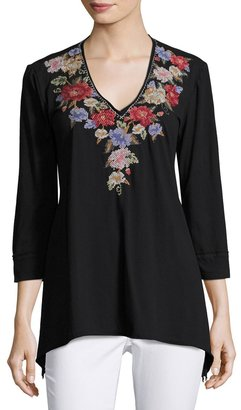 JWLA for Johnny Was 3/4-Sleeve Embroidered Tunic, Black $99 thestylecure.com