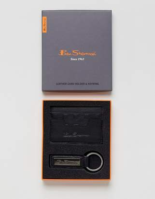 Ben Sherman Leather Card Holder And Keychain Set