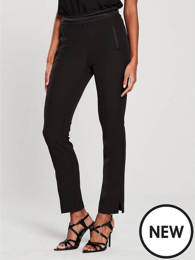 Lace Trim Cigarette Trouser - Black