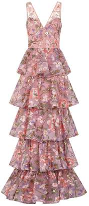 Marchesa Floral Embellished Tiered Gown