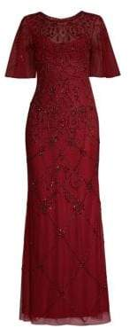 Aidan Mattox Women's Beaded Illusion Gown - Wine - Size 0
