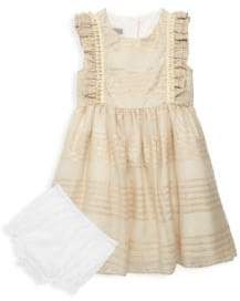 Baby Girl's Two-Piece Striped Dress & Ruffle Bloomers Set