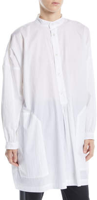 eskandar Button-Front Long-Sleeve Washed Cotton French Smock Top