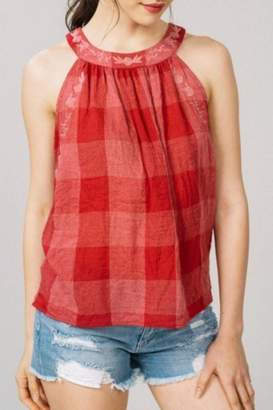 Listicle Checkered Embroidery Halter