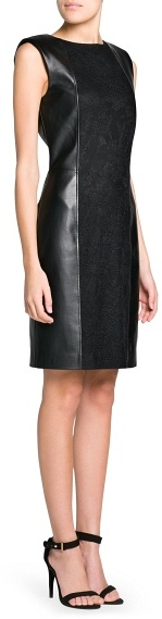 MANGO Outlet Lace Appliqué Faux Leather Dress
