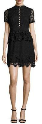 Ted Baker London Dixa Mixed-Lace Peplum Skater Dress, Black $465 thestylecure.com