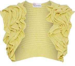 RED Valentino Ruffled Crochet-Knit Cotton Shrug