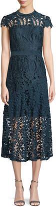 Tahari ASL Macie Satin Lace Illusion Midi Dress
