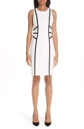 Michael Kors Leather Trim Boucle Crepe Sheath Dress