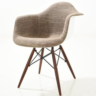 Poly and Bark Vortex Padded Arm Chair with Walnut Base in Taupe