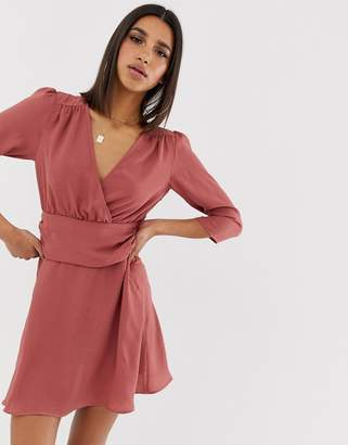 Asos Design DESIGN wrap mini dress with ruched waist
