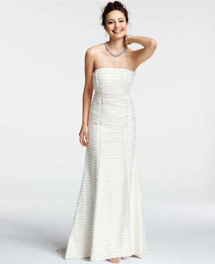 Ann Taylor Silk Charmeuse Tiered Strapless Wedding Dress