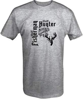 Hunter OS Down Half Fisherman Fishing Hunting Buck Deer Fish T Shirt - XLarge