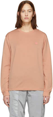 Acne Studios Pink Elwood Face Long Sleeve T-Shirt