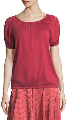 Co Bubble-Sleeve Round-Neck Silk-Cashmere Knit Top