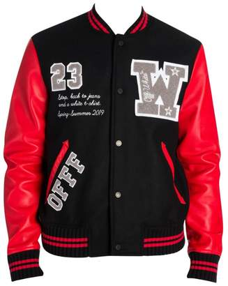 Off-White Off White Luxury Leather & Wool Varsity Jacket