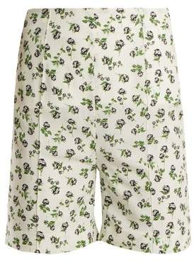 Emilia Wickstead Aloha Rose Print High Rise Georgette Shorts - Womens - White Print
